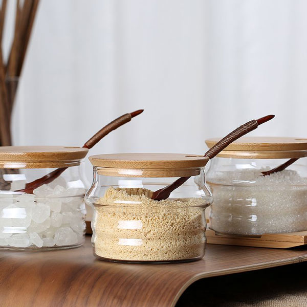 Condiment Jar with Bamboo Lid and Stand Set of 3pcs
