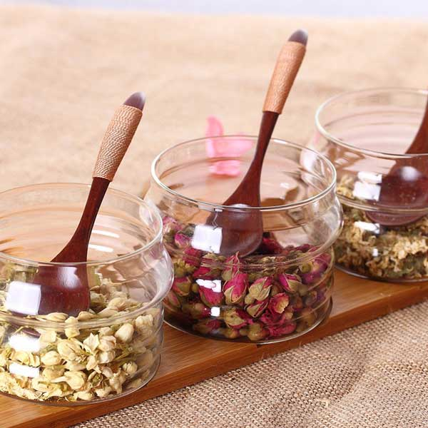 Condiment Jar with Bamboo Lid and StandSet of 3pcs
