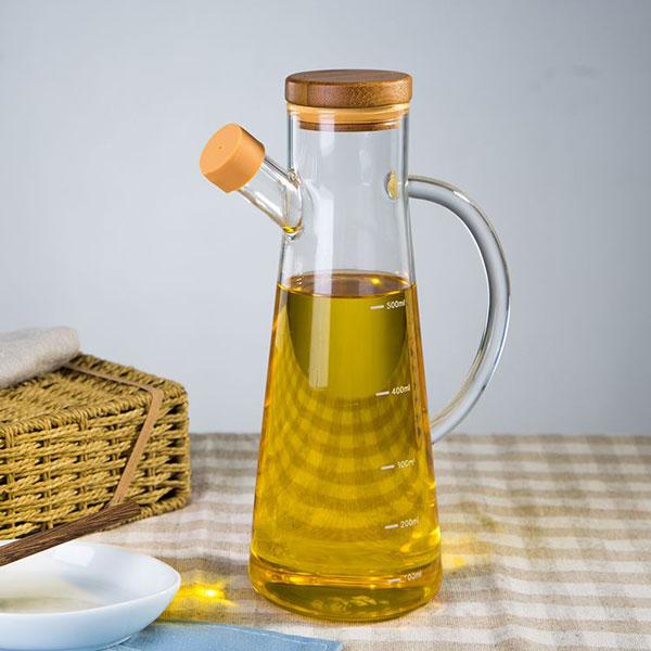 Oil & Vinegar Bottle with Bamboo Lid 580ml