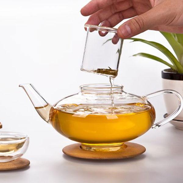 Glass Lantern Teapot with Bamboo Lid 750ml - HospitalityHQ