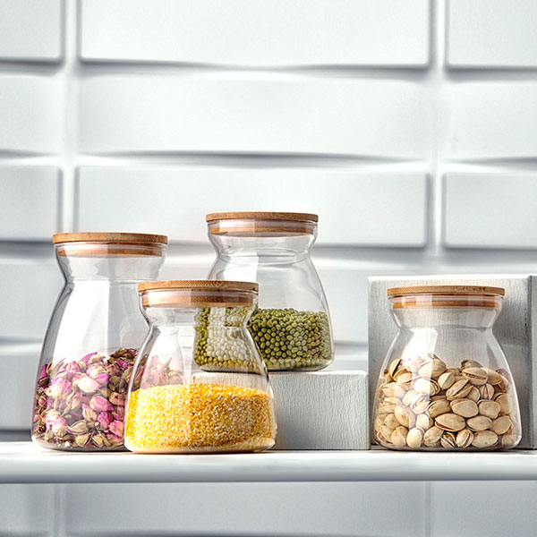 Storage Glass Jars with Bamboo Lid 700ml