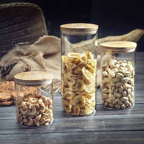 Storage Glass Jar with Bamboo Lid